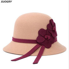 Новинка, корейские женские шерстяные фетровые шапки, Осень-зима, цветочные фетровые шляпы с Круглым Верхом, одноцветные черные красные женские церковные шапки