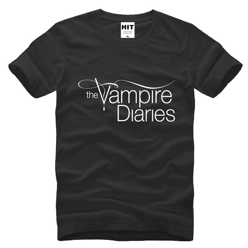 The vampire diaries print t shirt 2016 fashion100 cotton for Shirts with custom logo