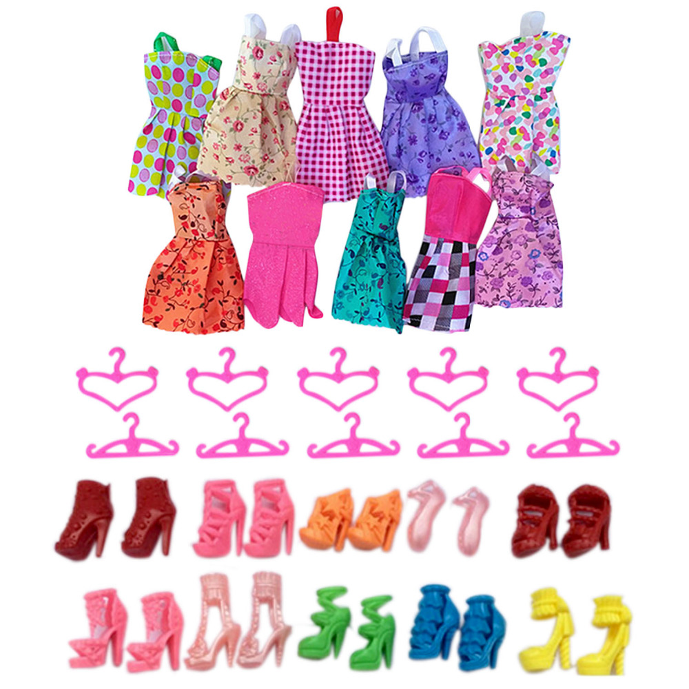 Satkago 10 PCS Fashion Girl Doll Toy Dresses Gown Outfits Clothes + 10 Pair Shoes + 10 PCS Clothes Hangers Set Random Style