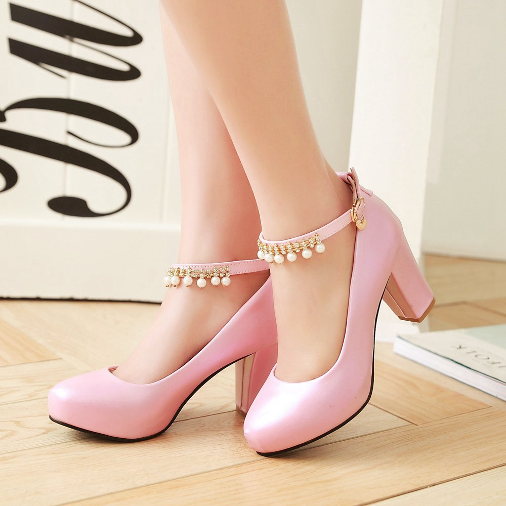 2017 Chunky High Heeled Pink Bridal Wedding Shoes Beaded White Female Buckle Elegant Pumps Silver Gold28