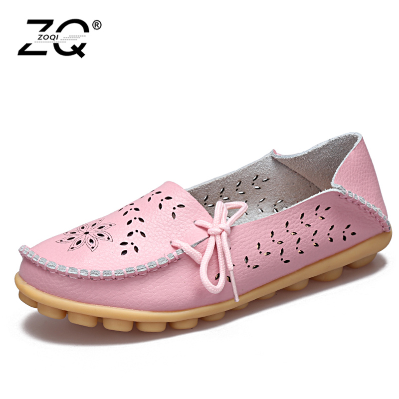 2018 Women Loafers Lady Flat Shoes Woman Summer Flats Hollow Out Comfortable Soft Outsole Genuine Leather Moccasins Size 44 43 slip on shoes loafers girl d orsay flats women flat shoes soft comfortable shoes woman plus size 34 40 41 42 43