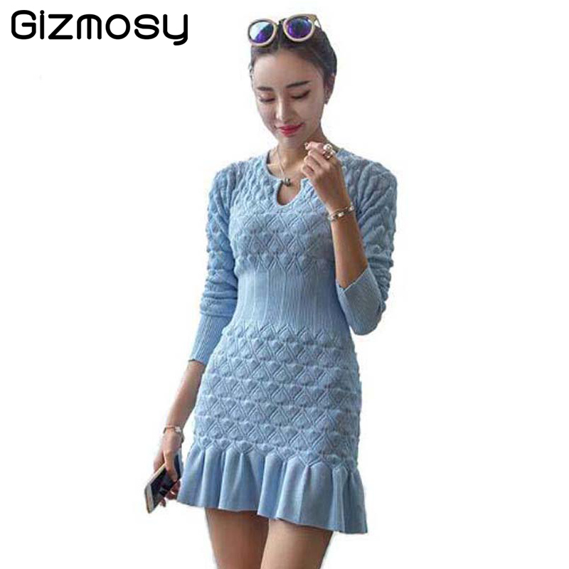 1PC Dress Female Winter Warm Long Sleeve Thicken Party Slim Package Hip Knitted Sweaters Christmas Dress For Girl vestido BN059-