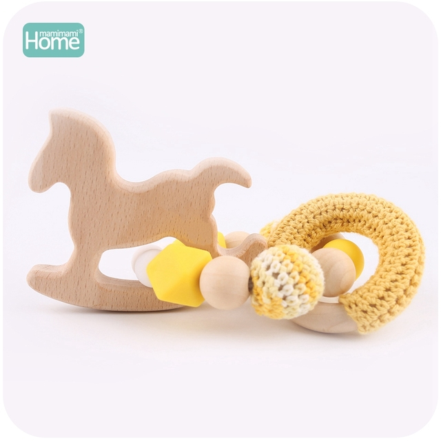 MamimamiHome 2pc Baby Rattle Beech Horse Wood Teething Crochet Beads Bracelets Montessori Toys For Children Baby Crochet Toys 1