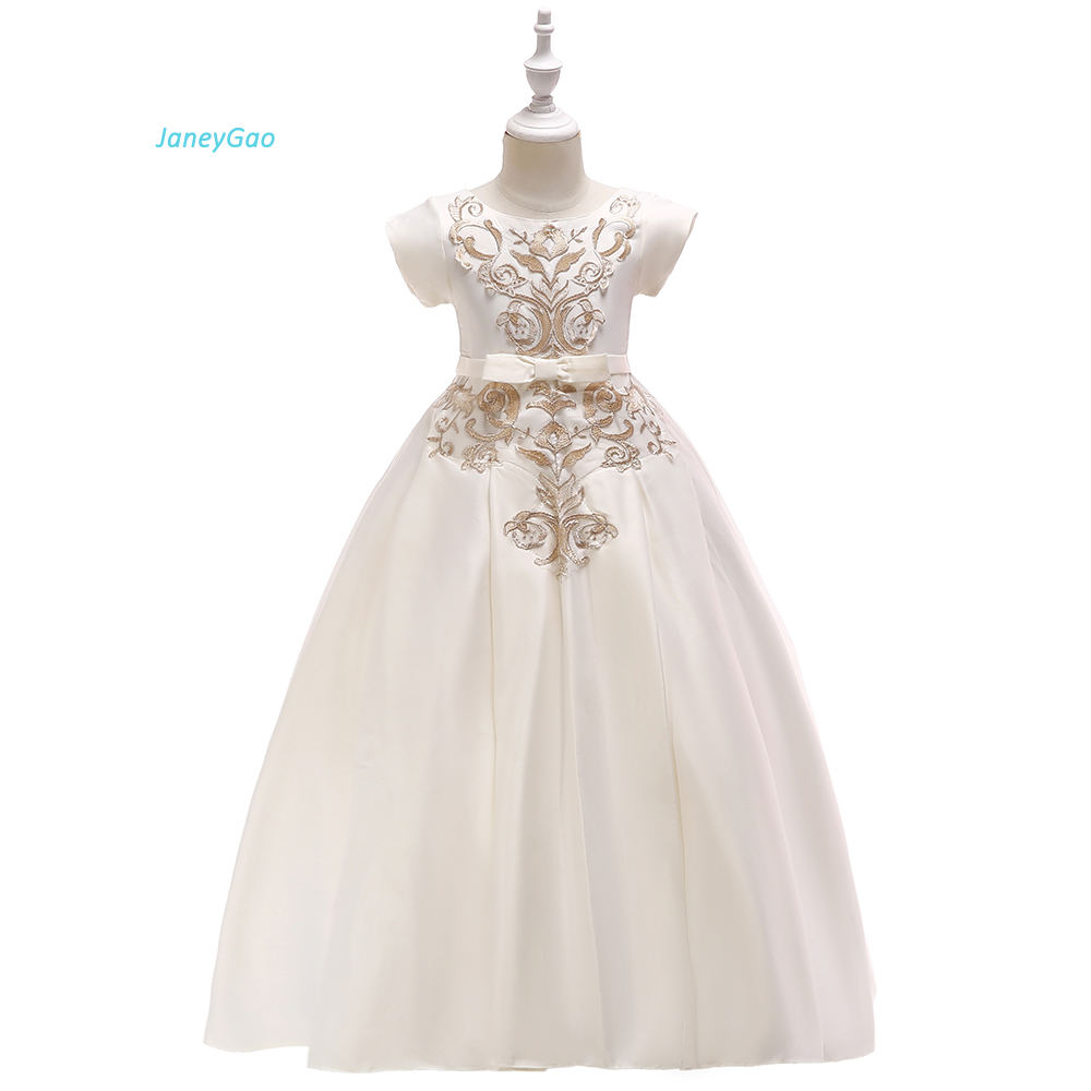JaneyGao   Flower     Girl     Dresses   For Weddin Party Teenage   Girl   First Communion Formal   Dresses   Pageant With Short Sleeves   Girls   Gown