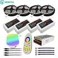 DC12V светодио дный света 5050 SMD RGBW RGBWW светодио дный лента гибкая лента + 2,4 г RGBW светодио дный контроллер + Мощность adapter Kit 10 м 15 м 20 м