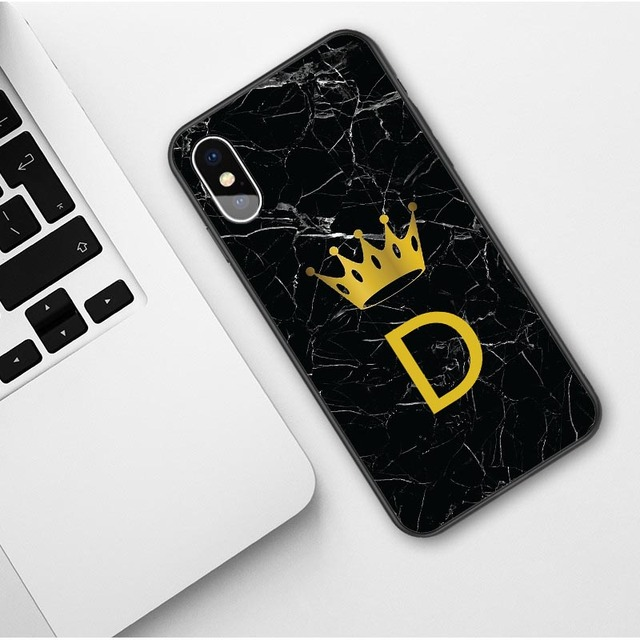 Custom name Letter Monogram Black Marble Gold Crown Soft Phone Case For iphone 1