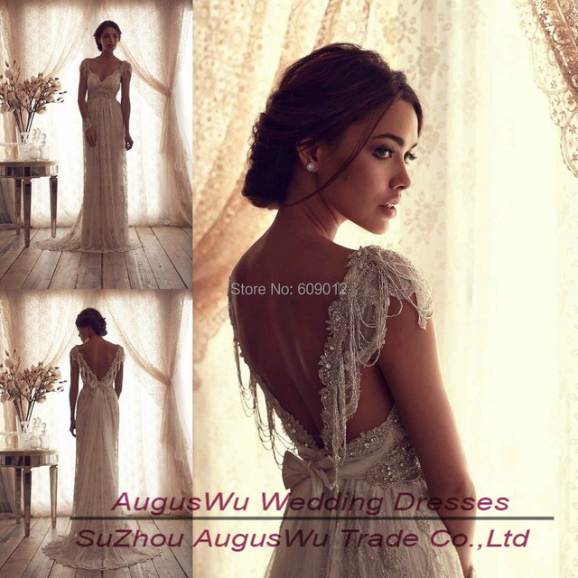 Awb364 2017 Best Vintage V Neck Sheer Cap Sleeve Wedding Dress Beaded Lace Bridal Gown