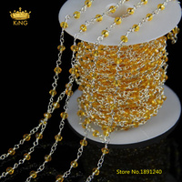 5Meter 3x4mm Transparent Orange Glass Wire Wrapped Faceted Rondelle Glass Plated Silver Copper Rosary Chains Craft