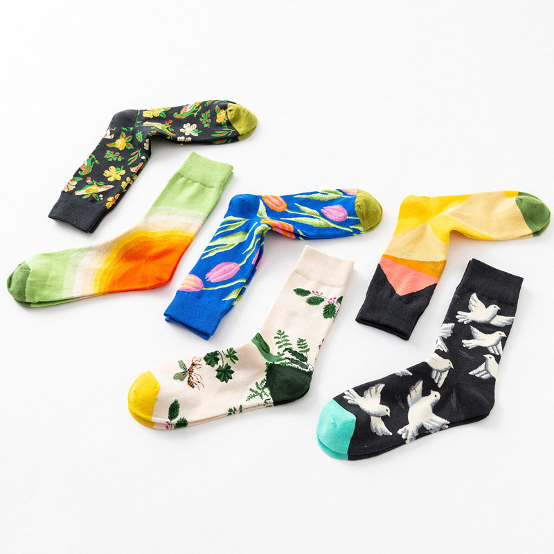 1 Pair Lot New Men Socks Casual Europe America Simple Pattern Cotton Sock Male Harajuku Comfortable Tide Socks in Men 39 s Socks from Underwear amp Sleepwears