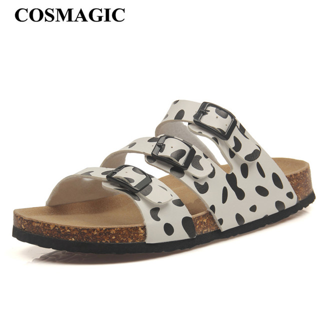 7bc50b8f275b COSMAGIC New Summer Buckle Cork Slipper Sandals Flat with Shoes 2018 Casual Women  Mixed Color Beach Slides Flip Flops Plus Size