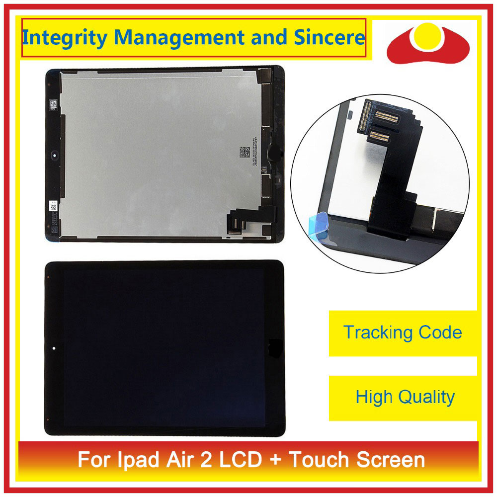 9.7 For Ipad Air 2 2nd ipad 6 A1567 A1566 Full LCD Display Touch Screen Digitizer Assembly Complete Glass Lens Panel+Tracking for ipad air 2 ipad6 a1567 a1566 lcd display touch screen digitizer assembly for ipad 6