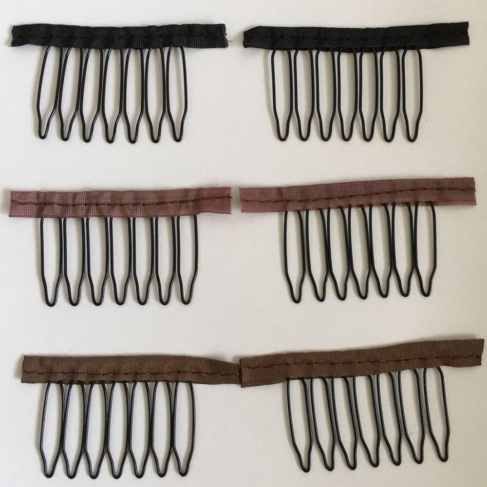 20/40 pcs 7 dents noir perruque peigne clips pour pleine dentelle perruque cap perruque accessoires tissu perruque clips noir brun foncé moyen brun