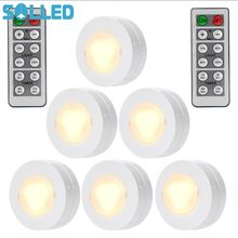 SOLLED 6 Packed Led Night Light Remote Controlled Closet Lights Super Bright Under Cabinet Lamp Round Shape Battery Powered(China)