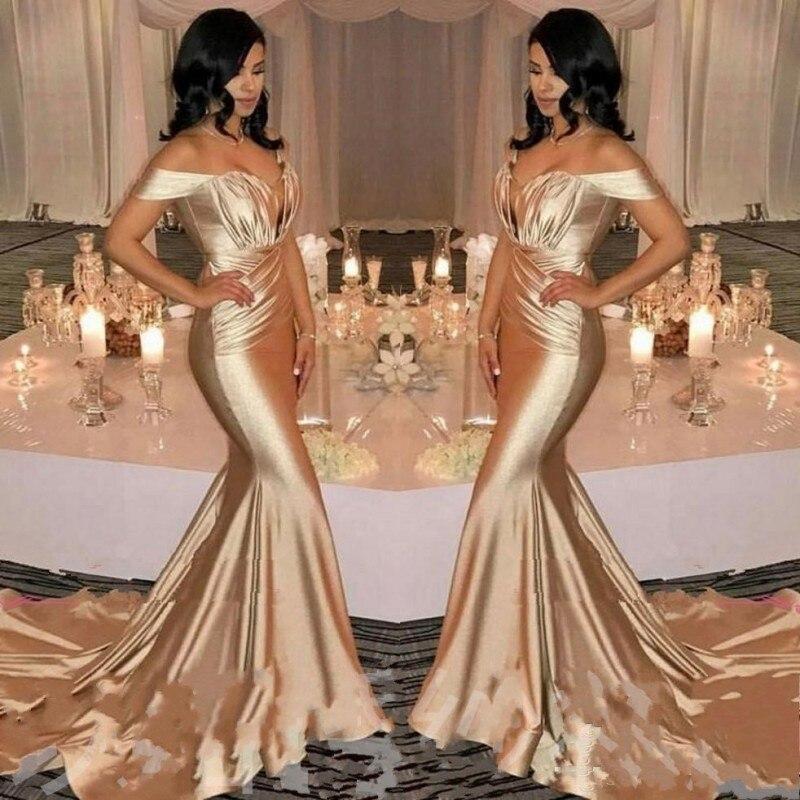 Gold Prom Dresses Mermaid gala jurken Abiye robe de bal longue Sexy Long Prom Dress Customized Prom Gowns vestido formatura