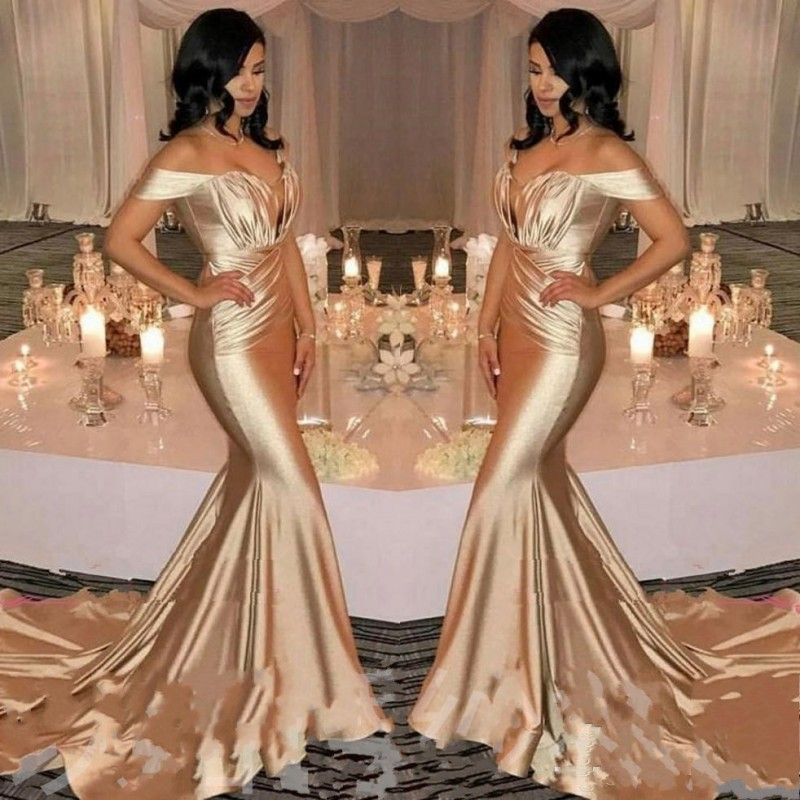 Gold   Prom     Dresses   Mermaid gala jurken Abiye robe de bal longue Sexy Long   Prom     Dress   Customized   Prom   Gowns vestido formatura