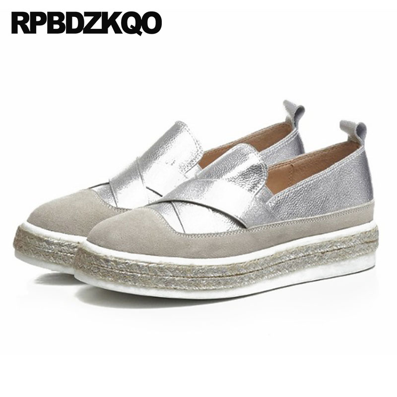 Elevator Silver Cowhide Hemp Metallic Slip On Gold Muffin Platform Creepers Espadrilles Flats Women Wide Fit Shoes Ladies Casual