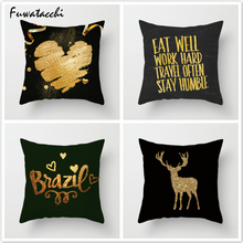 Fuwatacchi Shining Golden Cushion Cover Deer Love Printed Pillow Striped Decorative Pillows for Sofa Car