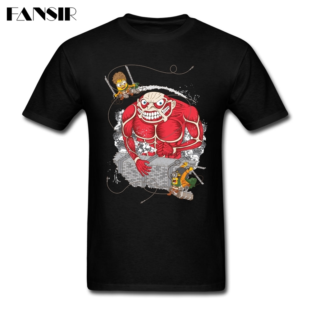 XS-3XL Attack On Gru Titan Funny Tshirts Male 100% Cotton Short Sleeve Men Tshirts Family Clothes