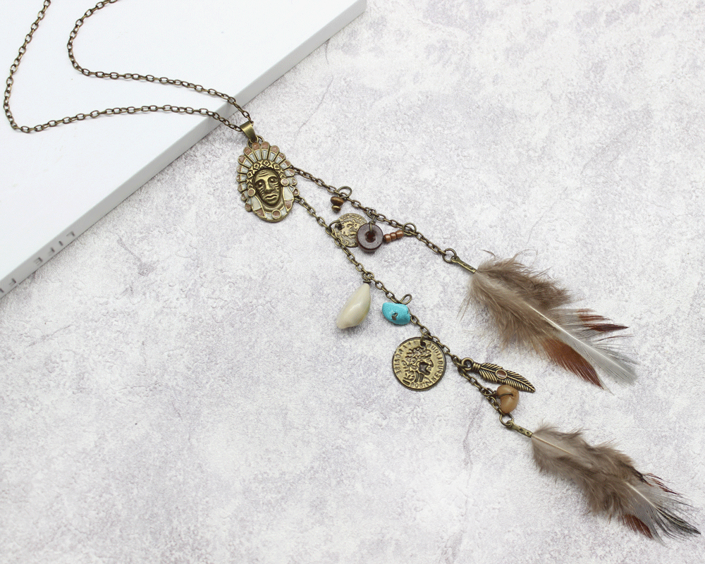 HTB1sISOmCYH8KJjSspdq6ARgVXa4 - Women Long Necklace Indian Coin Stone Feather Fringed Necklaces Decorative Sweater Chain Collar Pendant Choker Bijoux (XL012)