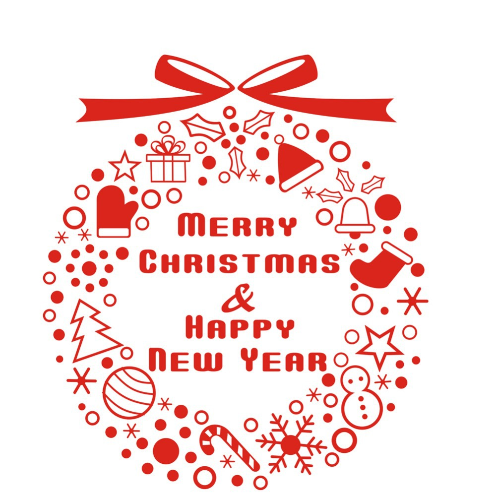 Merry Christmas & Happy New Year Christmas Window Sticker Christmas Decor Ornament Bells decal ...