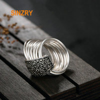 Sinzry HOT handmade 925 sterling silver Mosaic stone 9 circle index finger rings natural stone lady fine jewelry Ring