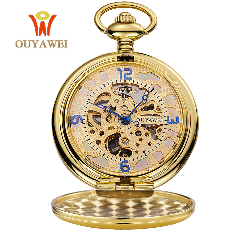 OUYAWEI Gold Pocket Watch Mechanical Men Vintage Pendant Watch Necklace Chain Antique Fob Watches Relogio bolso luxury antique skeleton cooper mechanical automatic pocket watch men women chic gift with chain relogio de bolso