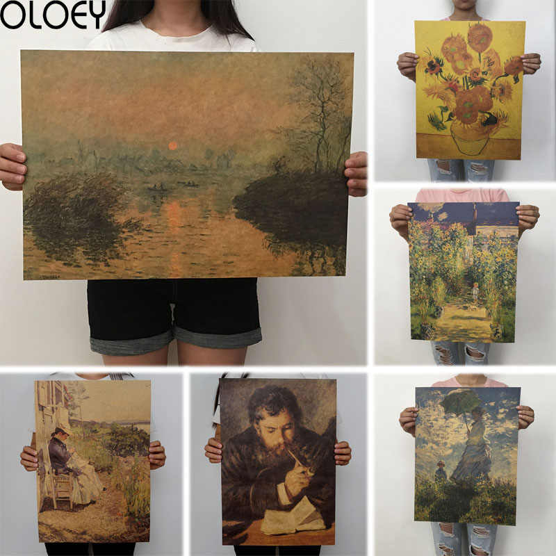 51.5x36cm Retro Kraft Paper Van Gogh Series Poster Sunflower Modern Abstract Art Oil Painting Bar Cafe Wall Sticker Decorative