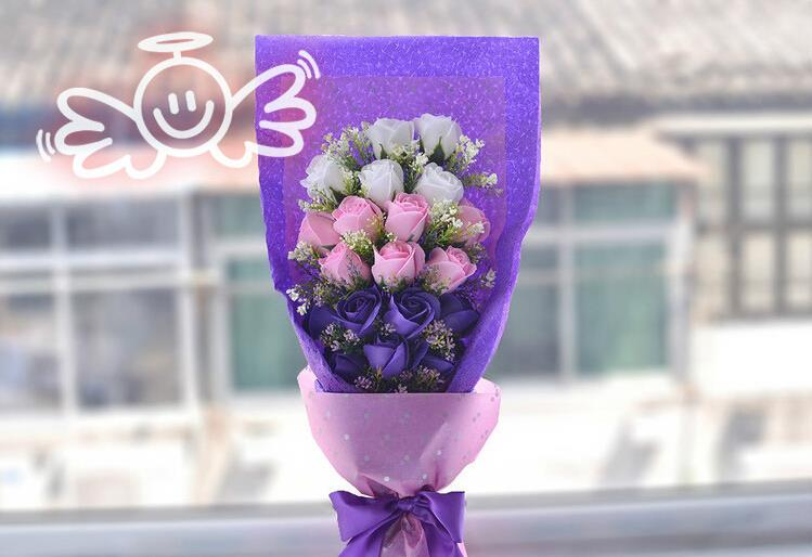 gift box purple rose bouquet gift for birthday/party/valentine's, Ideas