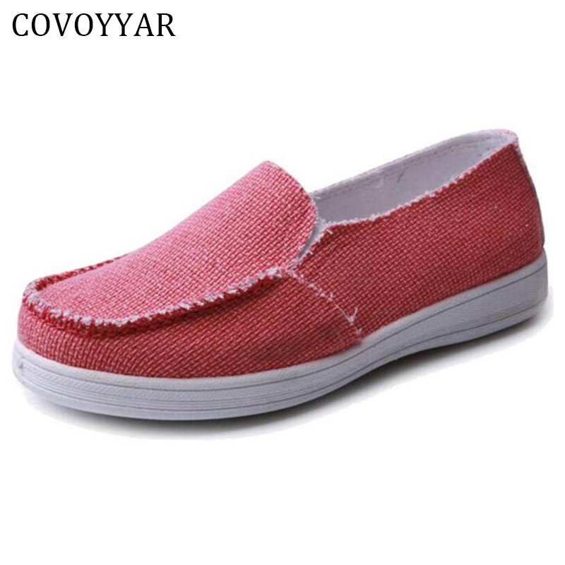 COVOYYAR 2018 Solid Canvas Shoes Women Spring Autumn Flat Breathable Women Loafers Walk Drive Work Shoes Slip On Size 40 WFS746 baijiami 2017 new children solid breathable slip on pu casual shoes boys and girls spring summer autumn flat bottom shoes