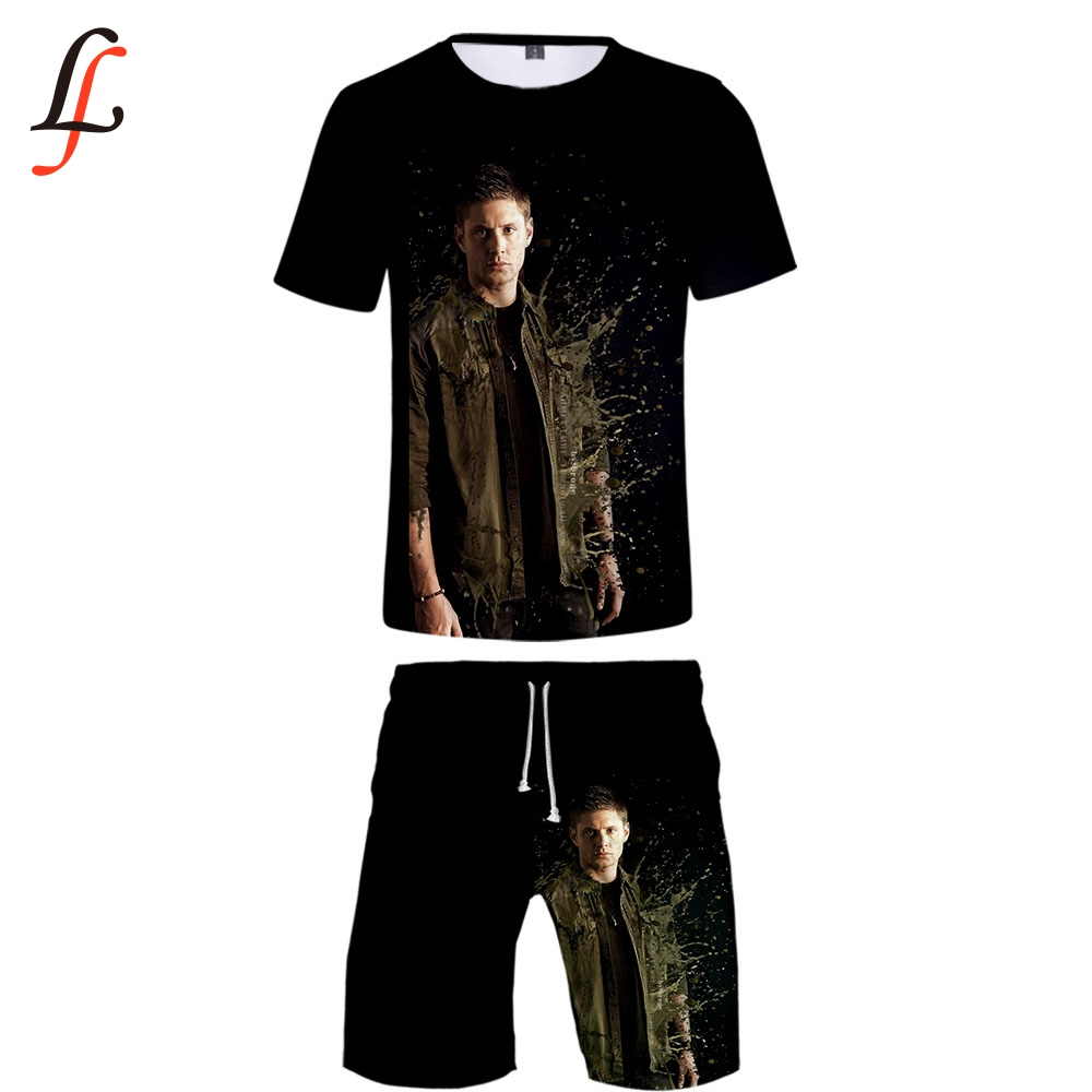 Supernatura 2019 New 3D Print Casual Cool Man 2 Set Summer Popular Hip Hop Fashion High Street Baseball Shirt+Short Pants Sets