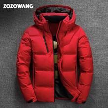 ZOZOWANG alta calidad pato blanco chaqueta gruesa abajo hombres abrigo nieve parkas hombre cálido marca ropa invierno abajo chaqueta prendas de abrigo