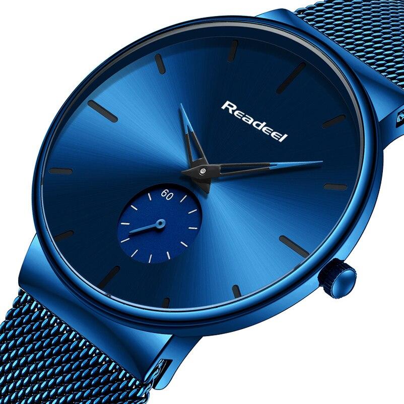 Readeel Watch Men Fashion Sport Quartz Watch Clock Mens Watches Luxury Casual Full Steel Waterproof Wristwatch Relogio Masculino-in Quartz Watches from Watches