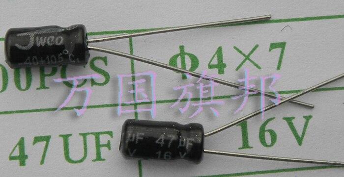 Бесплатная доставка. 16 в 47 электролитические конденсаторы Университет Флориды Малый диаметр 4 мм высокий мм 3 100 юаней 7