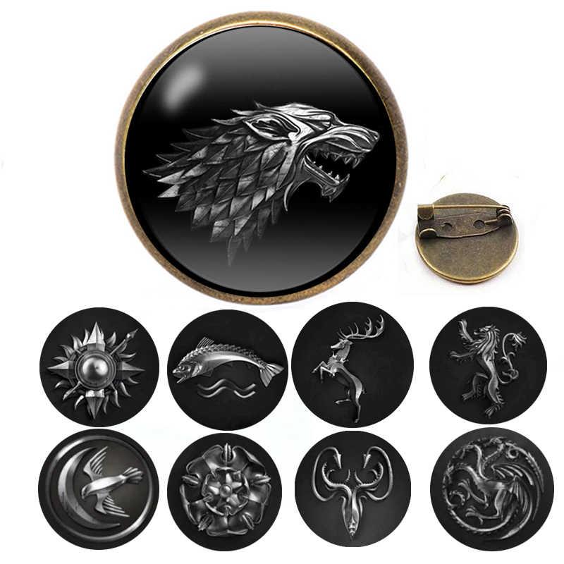 Game Of Thrones Stark Spilla Canzone Del Ghiaccio E del Fuoco Vintage Antico Dire Lupo Shield Spille Spille Per Le Donne di Moda accessori