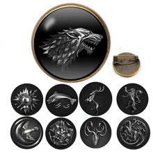 New Game of Thrones House Stark Wolf Glass Cabochon Leather Bracelets Multi Layers Weave Handmade Punk Black Men Bracelets(China)