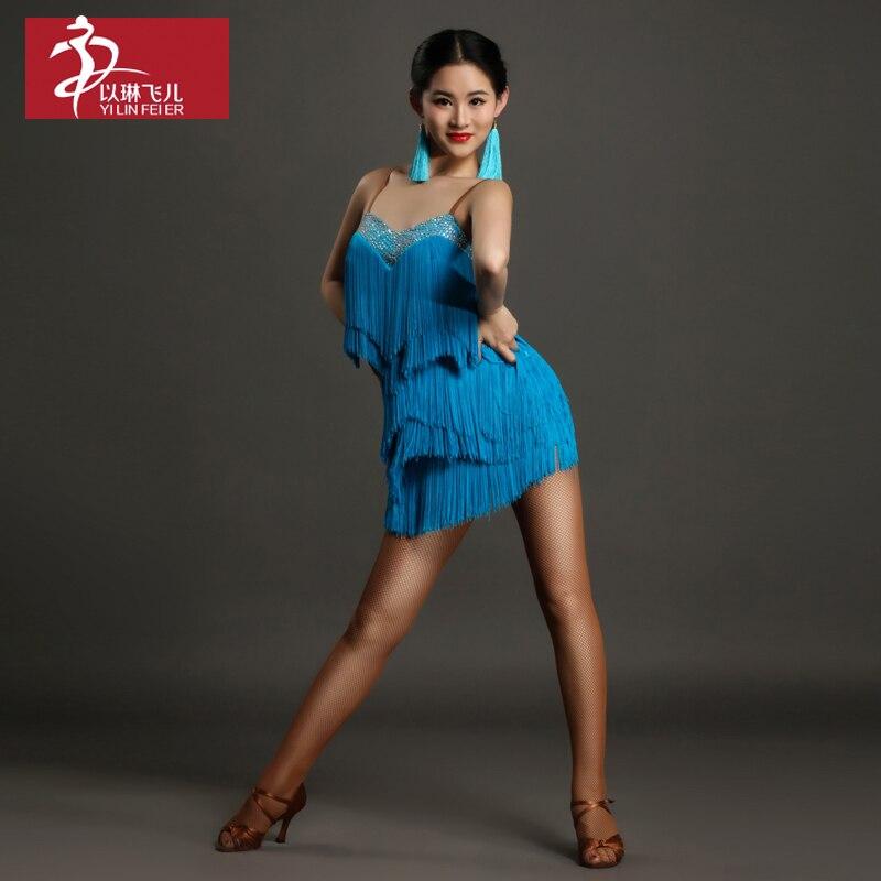 Latin Fringe Dress Time-limited Promotion Women Lycra Spandex Latin Dance Dress Womens Ballroom Tango Rumba Cha Samba Gb018