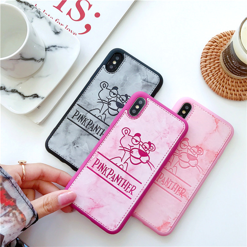 Full Silicone Cover For iPhone 7 8 X PU Leather Cute Cartoon Cases For iPhone 6 6s 7 8 plus Pink Panther Mickey Sup Back Shell