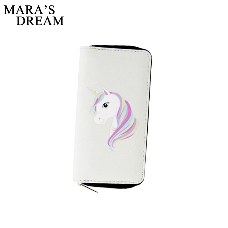 Maras Dream 2018 Cartoon Unicorn Women Long Wallet Clutch PU Zipper Coin Purse Card Holder Phone Bag Best Gift for Teenagers ...