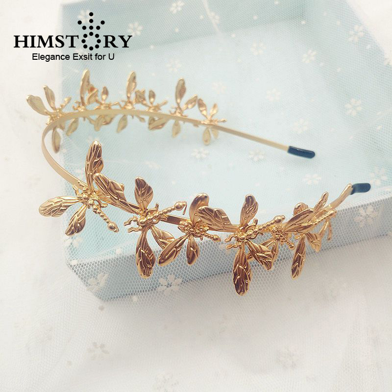 HIMSTORY Baroque Gold Dragonfly Butterfly Headbands Bridal font b Tiaras b font Wedding font b Hair