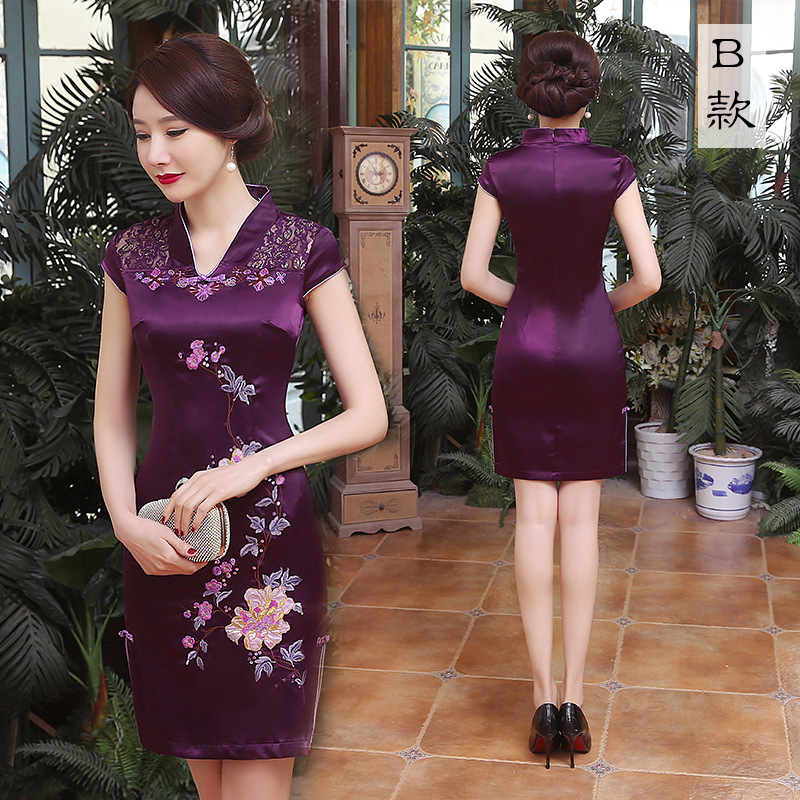 Elegante bordado flor Mini Qipao 2019 verano encaje Sexy Cheongsam púrpura Vintage baja División vestido chino Oversize S-6XL - 2