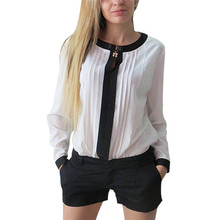 2017 Women Long Sleeve Shirt Chiffon Pleated Patchwork Office Blouses Tops
