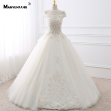 MANYUNFANG Capped Sleeves Backless Boho Wedding Dress