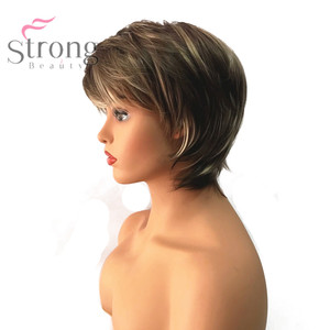 Image 2 - StrongBeauty Kadın Sentetik Peruk Kısa Peri Kesim Kül Kahverengi/Çamaşır Suyu Sarışın Vurgulanan/Balayage Saç Doğal Peruk