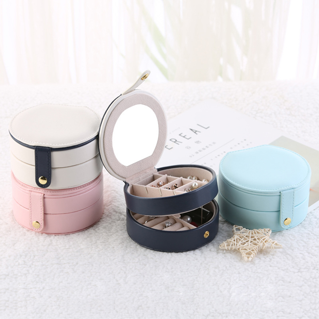 Multi layer Portable Earring Rings Holder Jewelry Box Organizer Jewelry Holder Storage Case Light Pink Blue Dark Blue White in Storage Boxes Bins from Home Garden