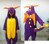 New Adult Cartoon Polar Fleece Lovely Purple Dragon Pyjamas Sleepsuit Sleepwear Onesie Cosplay Costume Animal Halloween