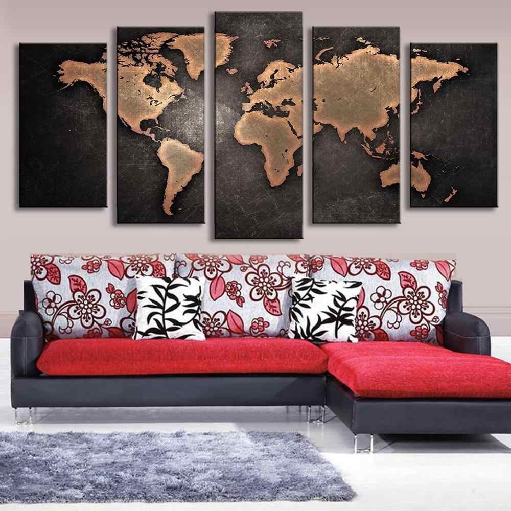Modern Canvas Pictures HD Printed Wall Art Framework 5 Pieces Retro World Map For Living Room Home Decoration Painting Posters