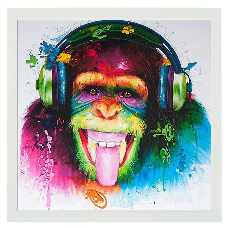 Modern Funny Music Monkey with Headphone Canvas Printed Painting Wall Art for Living Room Decor