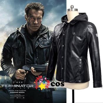 Terminator Genisys cosplay motorcycle men leather jacket leather biker jacket Punk Style T-800 Hoodie jacket Halloween costume leather jacket