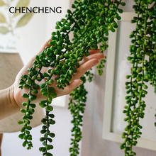 2 Pieces/ Lots 97CM Home Decor Wall Plant  Artificial Flower String PU Hanging Succulents Hotel Accessories