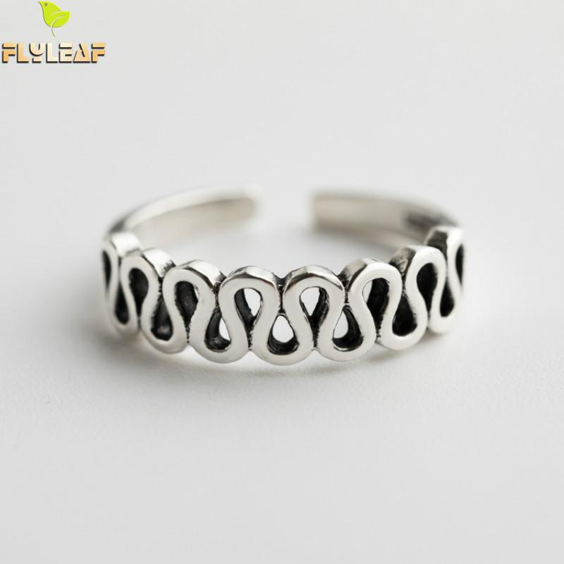 Flyleaf 925 Sterling Silver Retro Wave Open Rings For Women Do The Old Student Girl Vintage Jewelry in Rings from Jewelry Accessories